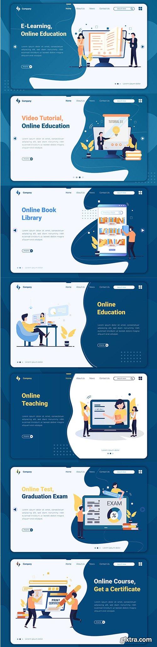 Flat Design Online Education Landing Page Template