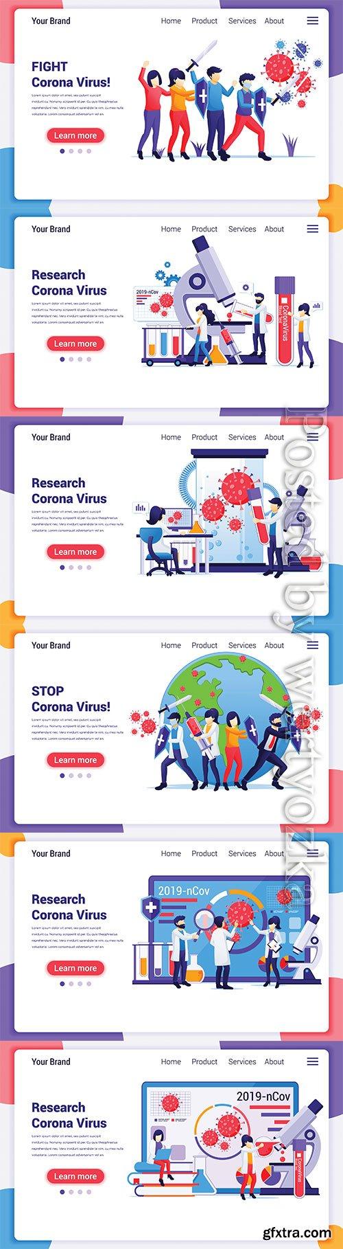 Research laboratory concept for Covid-19 Corona virus with scientists working at medicine laboratorium