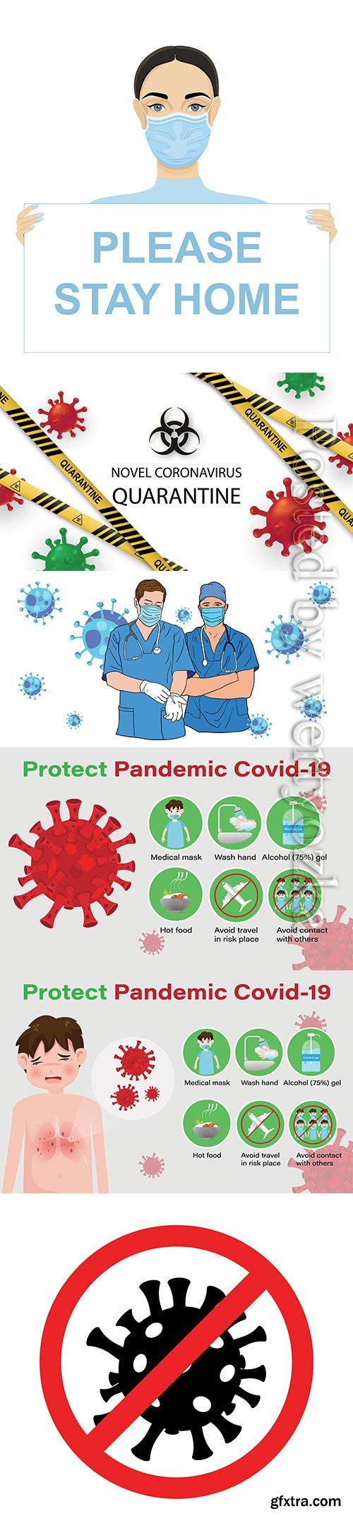 Coronavirus or Covid-19 vector elements