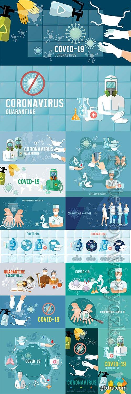 Coronavirus banner, virus infection control, hygiene, medical masks, self-isolation