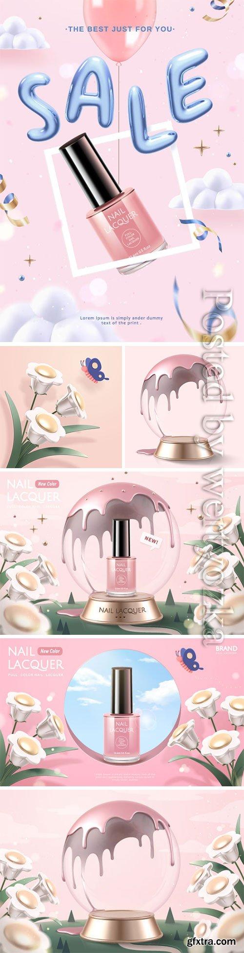 Cosmetics advertising vector posters, perfume, cream, nail polish # 4