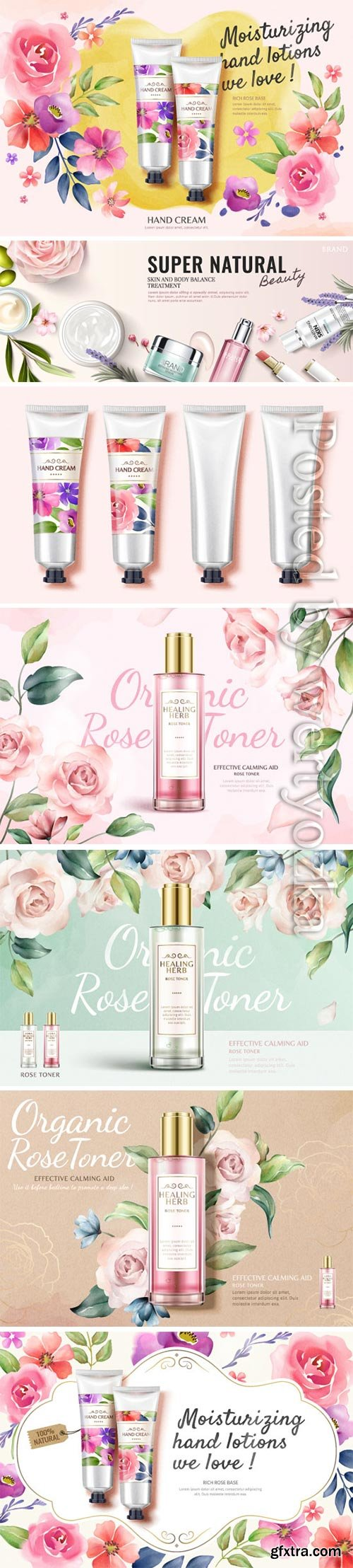Cosmetics advertising vector posters, perfume, cream, nail polish