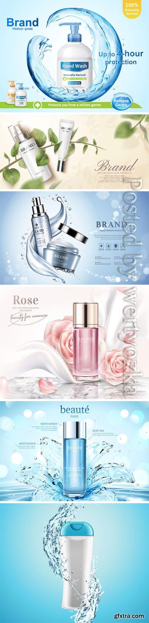 Cosmetics advertising vector posters, perfume, cream, nail polish # 2