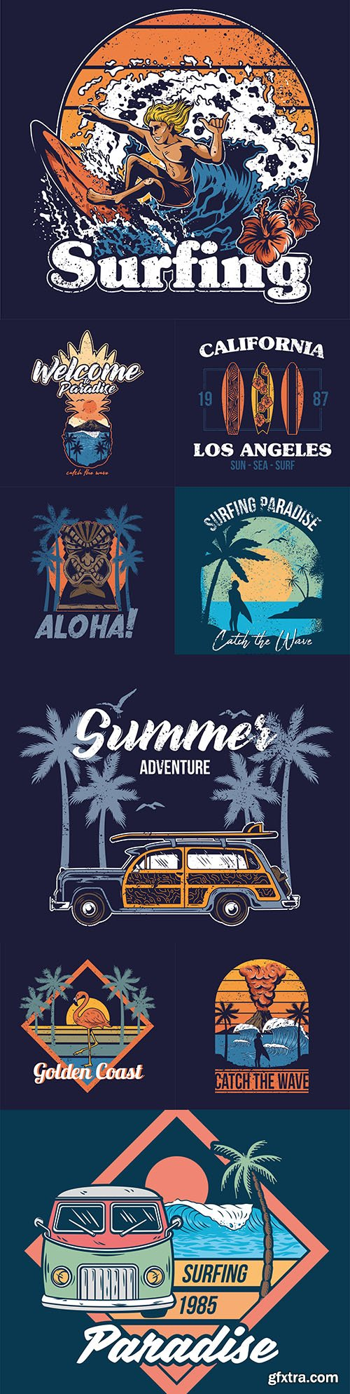 Summer surf design vintage emblems and logos