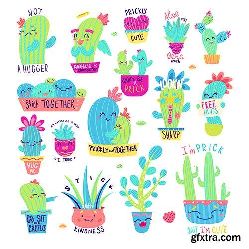 Funny Cactus Sayings Set