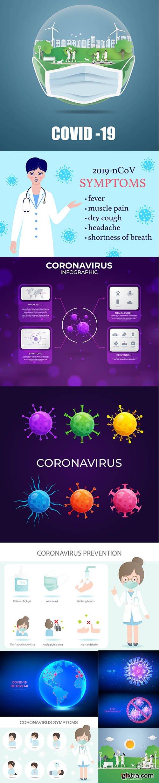 2019 Covid-19 Coronavirus Concept Illustration Set Vol 3