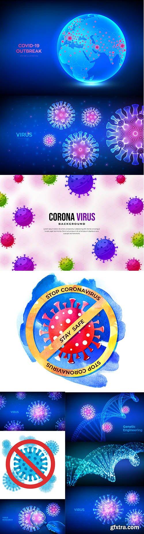 2019 Covid-19 Coronavirus Concept Illustration Set Vol 2