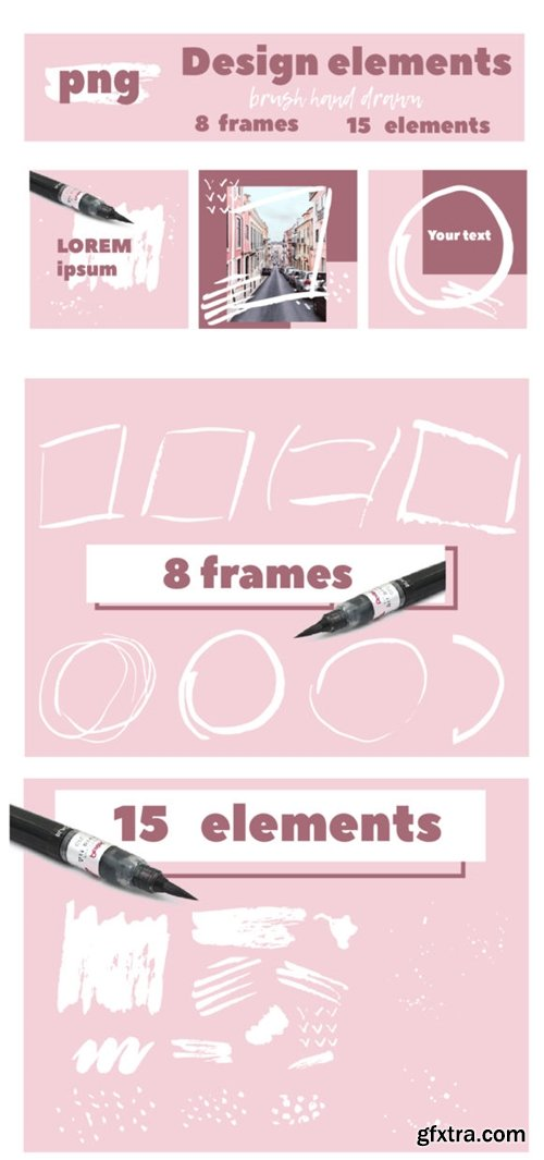 Set of Brush Textured Elements and Frame 3714933
