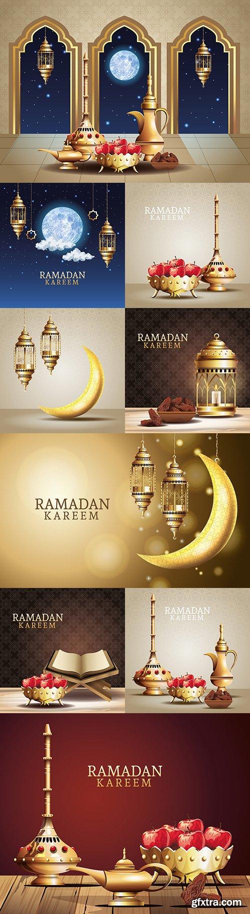Holiday Ramadan Kareem with gold lights illustration