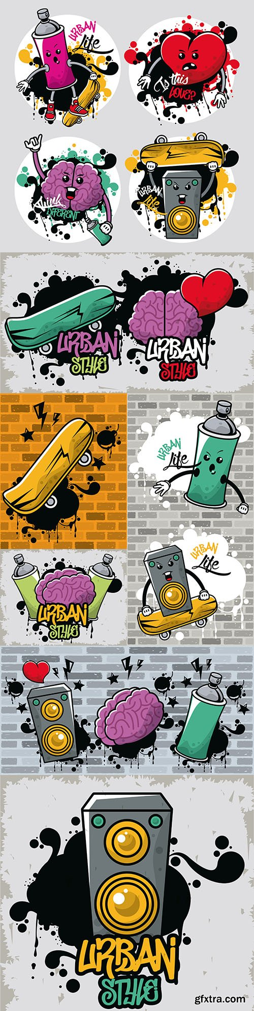 Urban style graffiti with skateboarding and brain