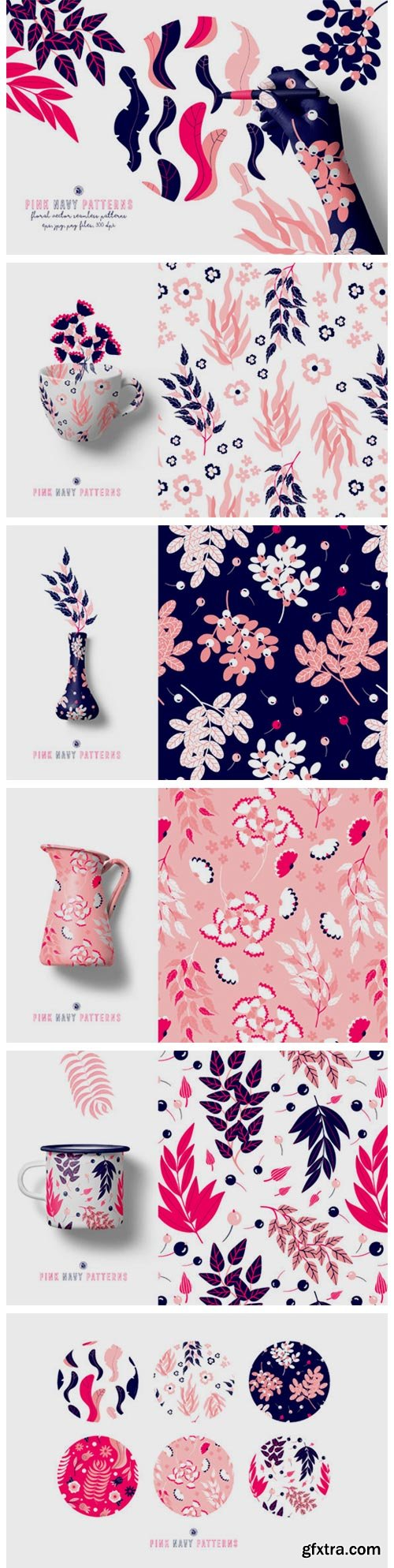 Pink Navy Vector Patterns 3719789