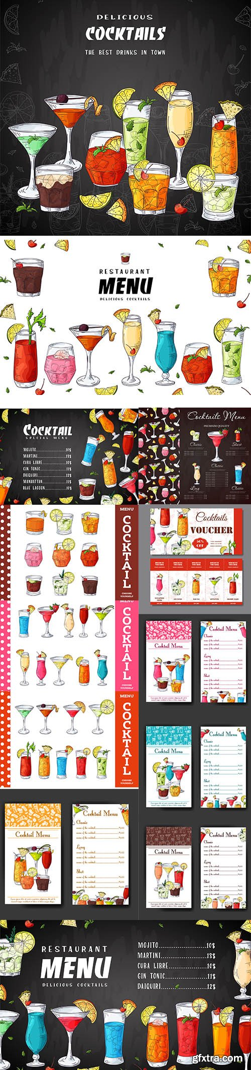 Hand-Draw Cocktail Drinks Menu Template