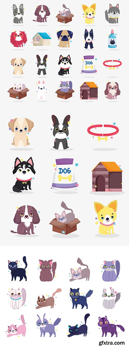 Cute Dogs and Cat Puppy Cartoon Animal Collection