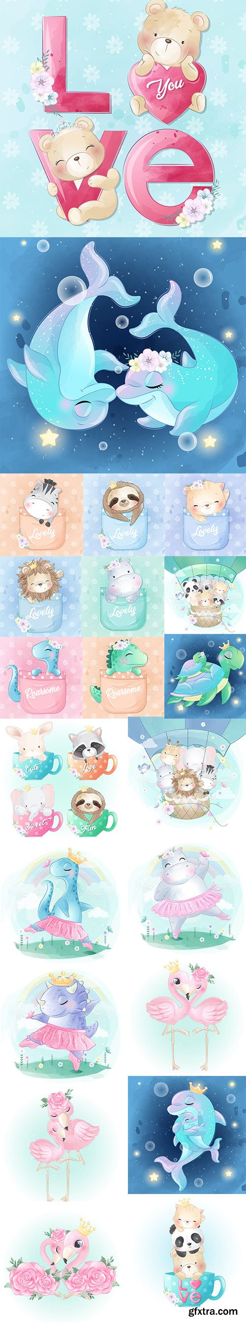 Adorable Little Animals Baby Illustration Collection