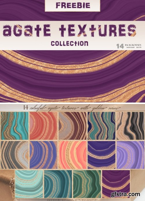Set of 14 Colorful & Gold Agate Textures 3733126