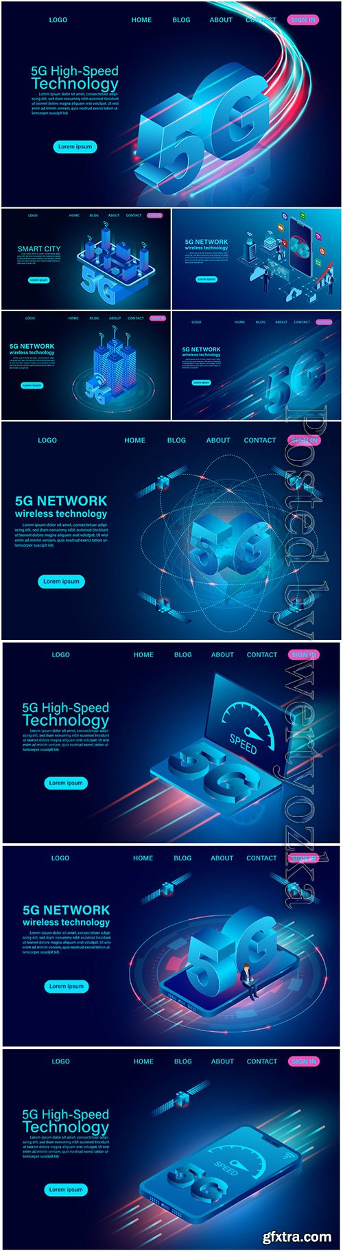 5G network wireless technology high speed isometric flat design vector
