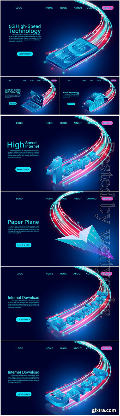 Banner with Internet concept isometric illustration