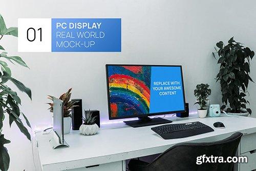 PC Display on Desk Real World Photo Mock-up