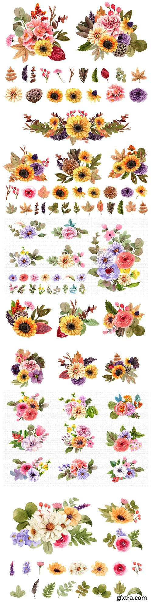 Watercolor set of bouquet and flower elements