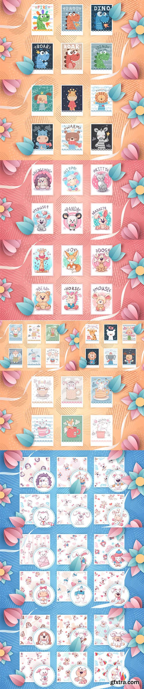 Collection of Little Cute Animals Illustration and Seamless Pattern