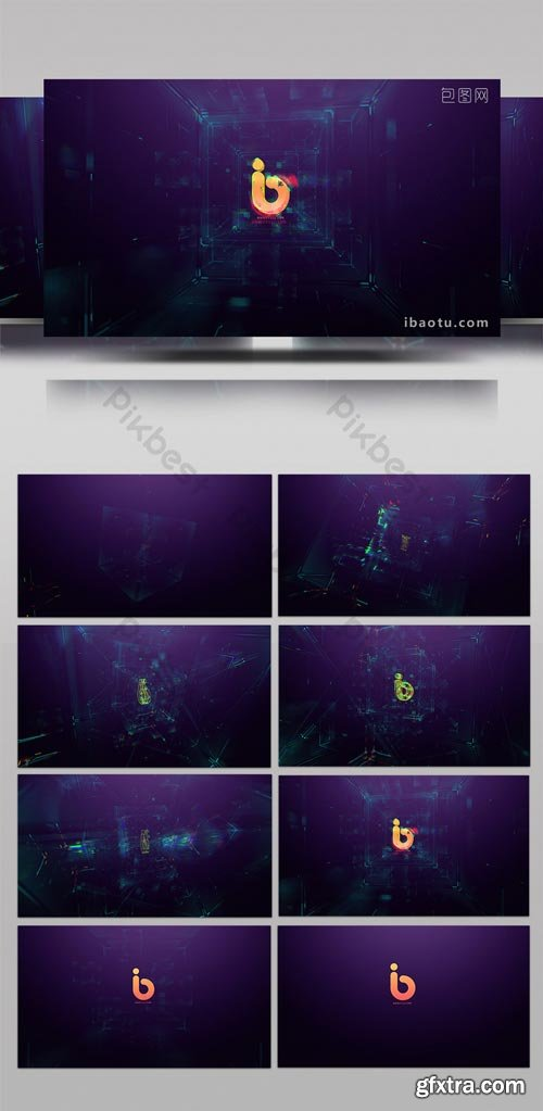PikBest - High-tech HUD stereo cube data display logo AE template - 1617705