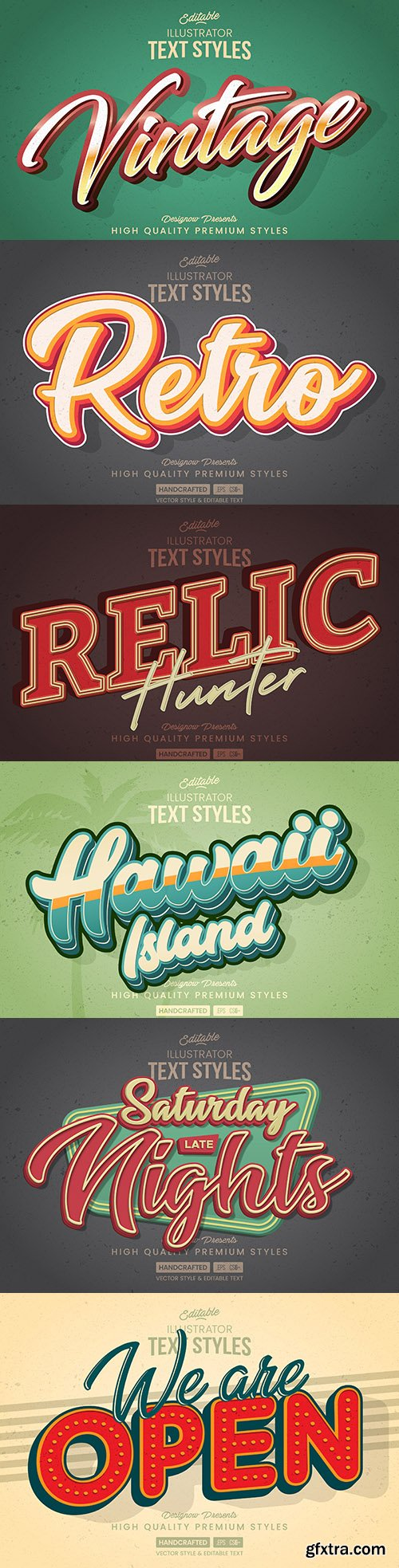 Editable retro font effect text collection illustration design