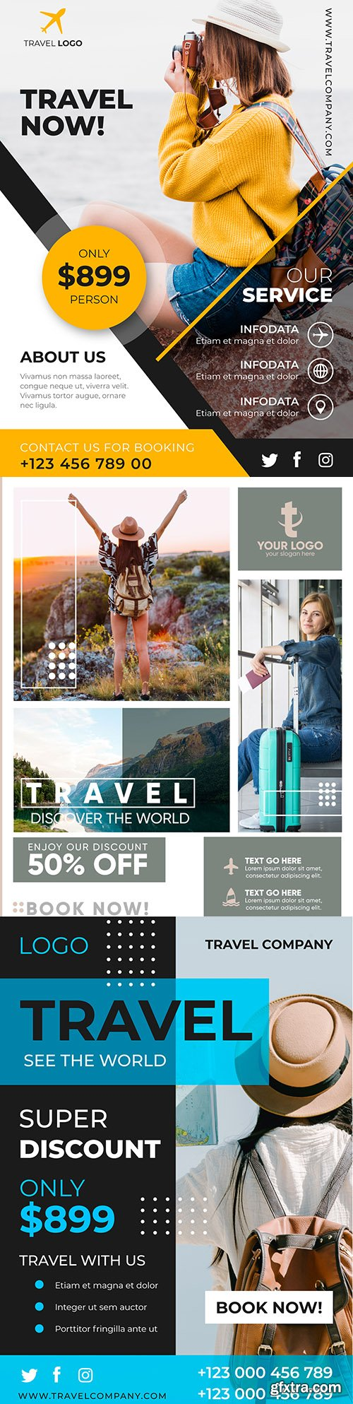 Travel summer template poster with photo design