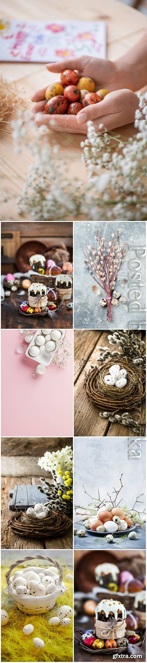 Happy Easter stock photo, Easter eggs, spring flowers # 12