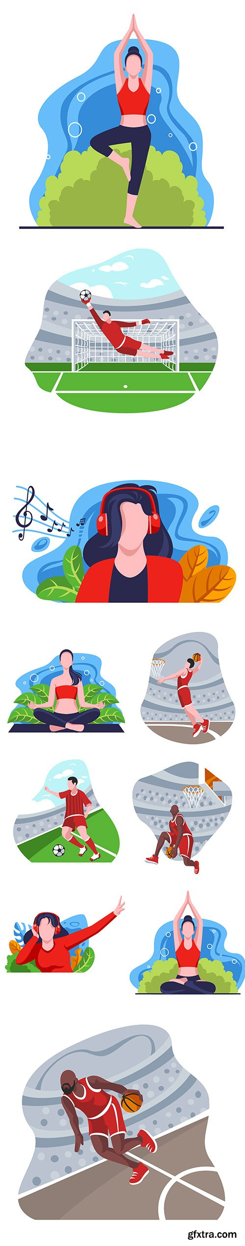 Yoga and Sport Activities Flat Design Illustration