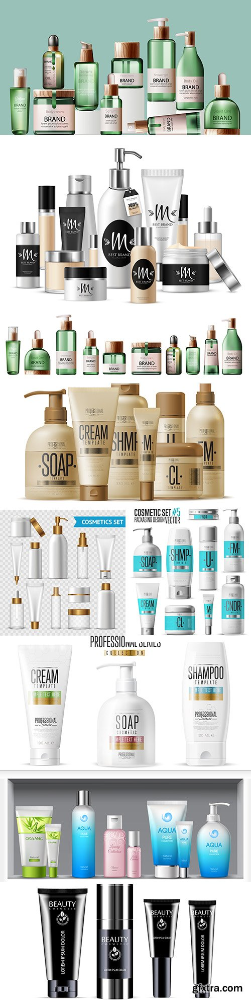 Cosmetic brand template bottles realistic set