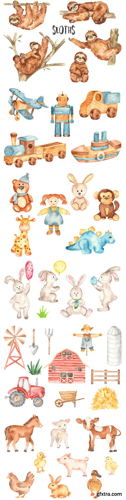 Cute animals on farm and soft watercolor-style toys