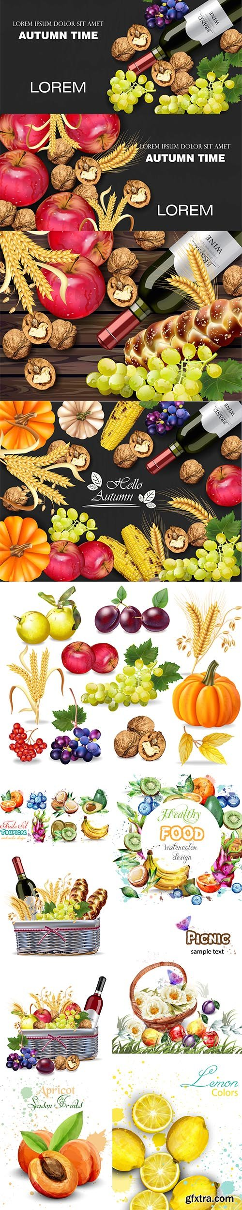 Watercolor Autumn Fruits and Vegetables Collection