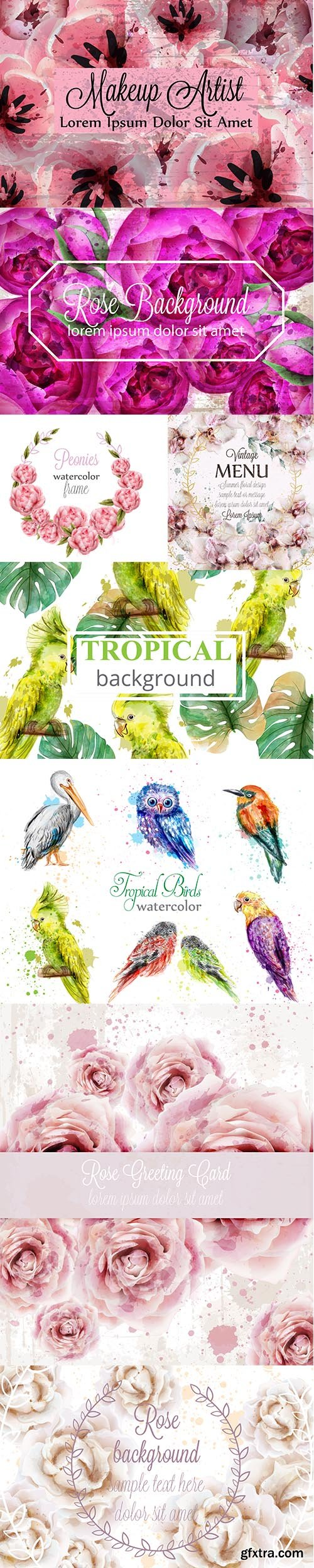 Watercolor Beautiful Birds and Flowers Collection