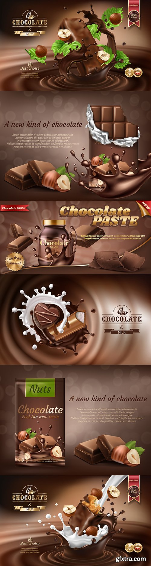 Chocolate and nuts 3d-spray melted chocolate advertising banter