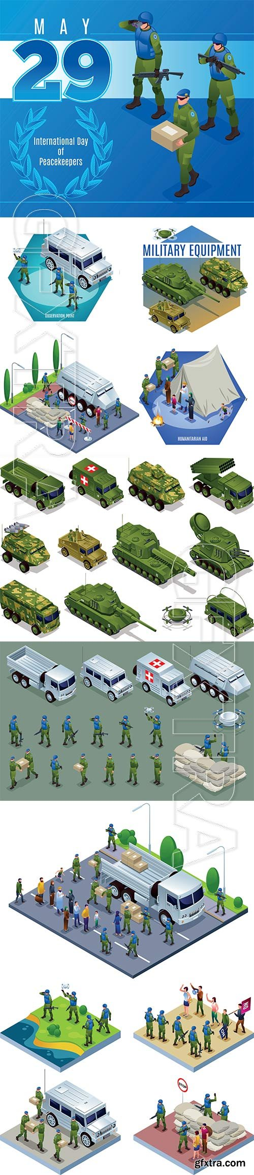 Army transport combat vehicles collection with tanks military vehicles set isometric icons