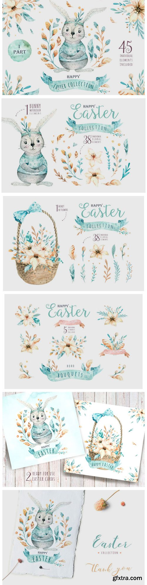Easter Cute Bunny I. Watercolor Set 3758786