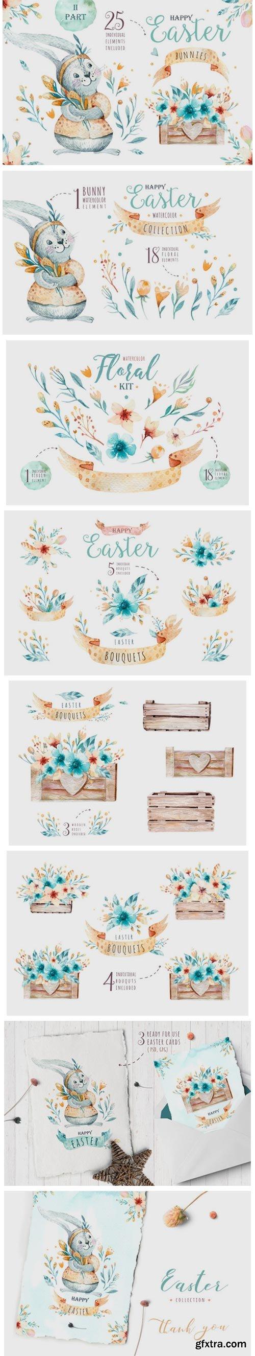 Easter Cute Bunny II Watercolor Set 3758785