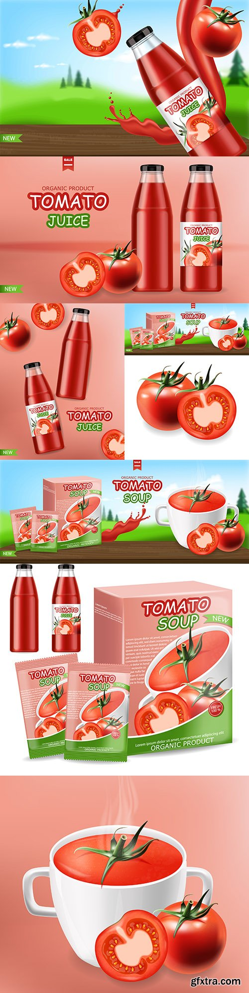 Tomato natural product and insulated packaging realistic banner