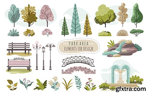 Set of Isolated Park Elements Trees and Flowers