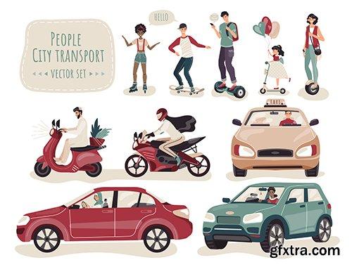 People City Transport Set Cartoon Characters Illustration