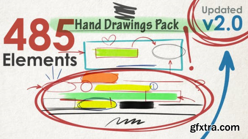 Videohive Hand Drawings Pack (485 elements) v2.0 22738315