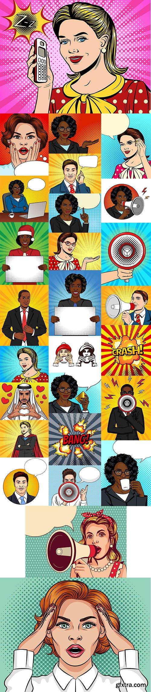 Pop Art Comic Style People Illustration