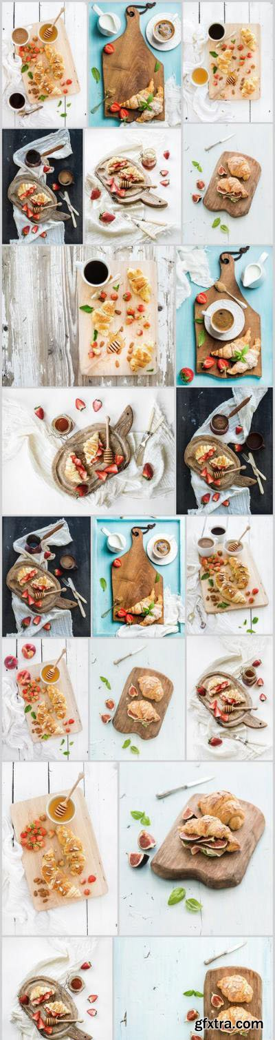 Tasty Breakfast – Freshly baked almond croissants with garden strawberries and mint – Set of 20xUHQ JPEG Professional Stock Images