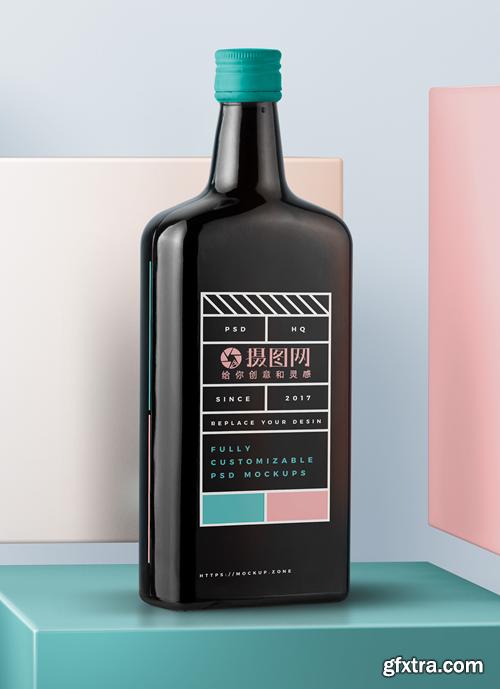 wine bottle display mockup