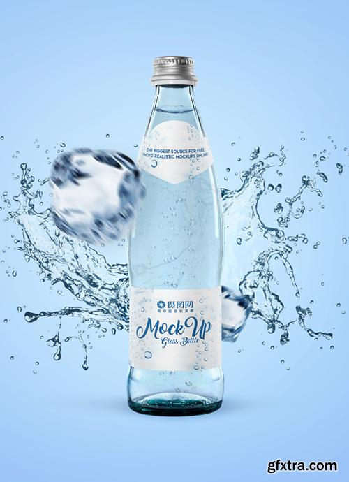 demonstration of mineral water bottle packaging mockup