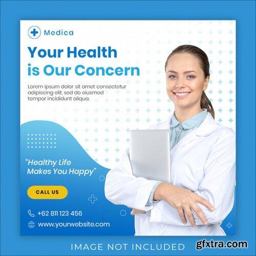 Medical health square banner instagram post template Premium Psd