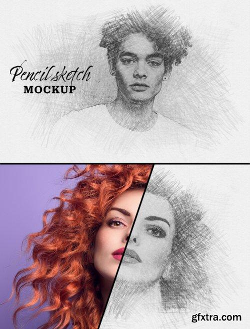 Photo Sketch Effect Mockup 328145668
