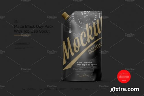 CreativeMarket - Matte Black Doy-Pack With Top Cap 4041023
