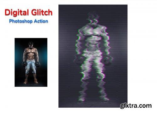 CreativeMarket - Digital Glitch Photoshop Action 4534753