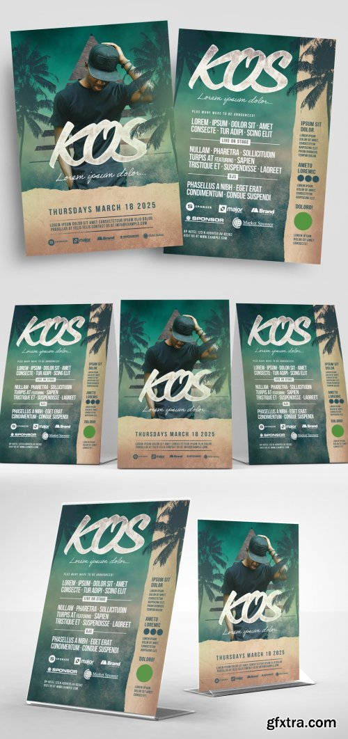 Event Flyer Layout with Green Textured Background and Palm Tree Illustrations 333042070